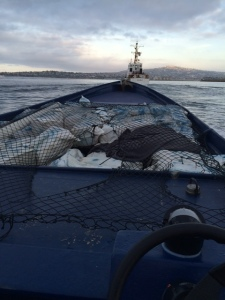 A panga boat carrying 5,700 pounds of pot was busted on San Miguel Island March 22, 2015. (Credit: U.S. Coast Guard)
