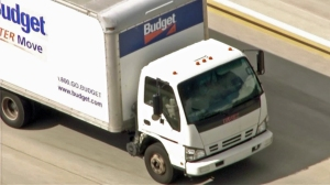 Authorities were in pursuit of a Budget rental truck on Monday, March 2, 2015. (Credit: KTLA)