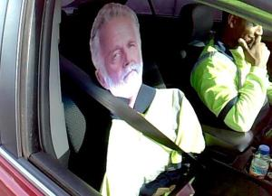 """A Washington state trooper photographed the laughing driver and his """"passenger"""" during a traffic stop outside Tacoma. (Credit: (Washington State Patrol)"""