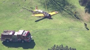 A small plane crashed at Penmar Golf Course on March 5, 2015. (Credit: KTLA)