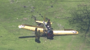 An adult male pilot was critically injured in the crash March 5, 2015. (Credit: KTLA)