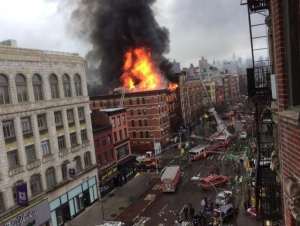 A building collapsed in the East Village on March 26, 2015. (Credit: Scott Westerfeld)