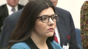 Michelle Louise Ghirelli appears in court in Newport Beach on Feb. 4, 2015. (Credit: KTLA)