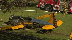 A photo from the ground shows the plane that crashed at Penmar Golf Course on March 5, 2015. (Credit: KTLA)