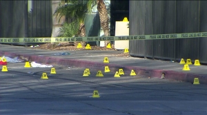 Dozens of gunshots were fired during a deadly shooting outside Stingers Nightclub in San Bernardino on March 4, 2015. (Credit: KTLA)