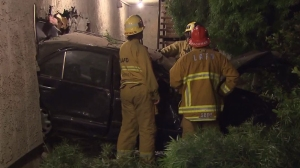 A Mercedes crashed into a Sun Valley motel on March 27, 2015. (Credit: KTLA)