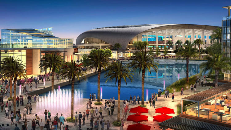 A rendering shows the proposed NFL stadium development project in Inglewood at the site of the old Hollywood Park racetrack. (Credit: G.F.Bunting)