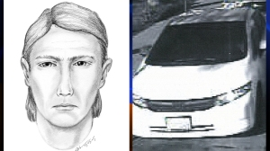 A sketch of the suspect and a surveillance photo of his car were released by the Long Beach Police Department on Wednesday, March 4, 2015.