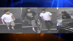 Pasadena police released these surveillance photos of four people wanted in connection with the robbery and assault of an 87-year-old man that occurred while he was out walking near the Rose Bowl on Friday, March 27, 2015.