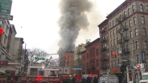 A building collapsed in the East Village on March 26, 2015. (Credit: WPIX)