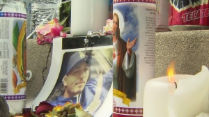 A memorial for Salome Rodriguez Jr., shot an killed in Pomona on March 13, 2015, is pictured. (Credit: KTLA)