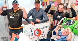 The Seattle Children's Hospital posted this photo on Facebook of Marvel stars Chris Pratt (middle) and Chris Evans (right) making a visit on March 7, 2015.