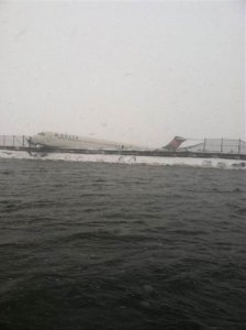 There were 131 passengers and crew on the Delta jet that skidded off a LaGuardia runway on March 5, 2015. (Credit: FDNY via CNN Wire)