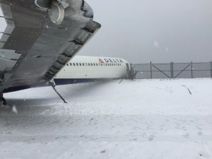 Another shot shows the plane after it skidded off a LaGuardia Airport runway on March 5, 2015. (Credit: Jared Faellaci via CNN Wire)