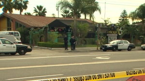 One person was killed and four others were injured during a shooting at a Santa Ana restaurant on March 2, 2015. (Credit: KTLA)