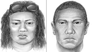 Long Beach police on March 18, 2015, released sketches of a woman and man believed to be involved in the kidnapping and murder of three-week-old Eliza Delacruz.