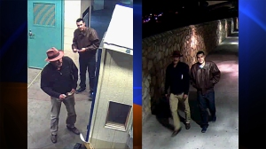 The FBI said these photos show Victor Solis and Henry Solis crossing into Juarez, Chihuahua, Mexico, from El Paso, Texas, on March 14, 2015.