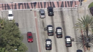An SUV that was being pursued by CHP stopped in Pasadena after exiting the 110 Freeway on April 15, 2015. (Credit: KTLA)