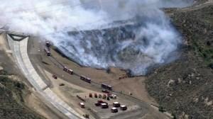 A second blaze broke out in the San Fernando Valley, near the Los Angeles Reservoir, on April 27, 2015. (Credit: KTLA)