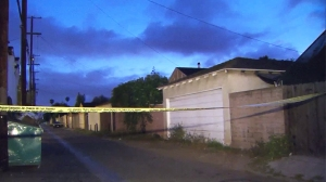 An 8-year-old boy was hospitalized after being shot in the head in Del Rey. (Credit: KTLA)