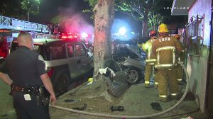 Police and firefighters responded after an SUV slammed into a tree in Boyle Heights on Sunday, April 12, 2015. (Credit: KTLA)