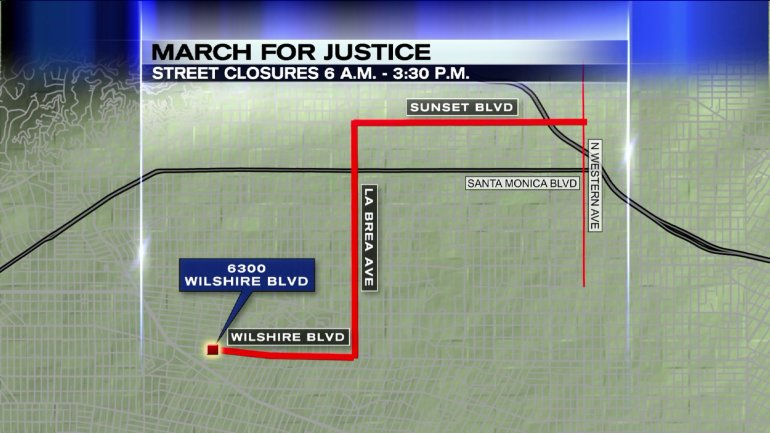 "A map shows the planned route of the annual ""March for Justice"" on Friday, April 24, 2015, the 100th anniversary of the 1915 Armenian genocide. (Credit: KTLA)"