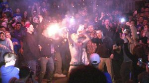 Thirty-one people were arrested on the streets of Lexington after the Kentucky Wildcats lost to the Wisconsin Badgers in the NCAA men's basketball tournament on Saturday, April 4, 2015. (Credit: CNN)