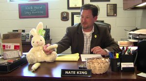 Tahlequah, Oklahoma, Police Chief Nate King holds one of two methamphetamine-filled packages that were found inside a stuffed Easter Bunny. (Credit: CNN)