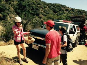 Authorities released this photo after a man was reunited with his wife and two sons, who had become stranded in Las Flores Canyon near Altadena on Sunday, April 12, 2015. (Credit: Los Angeles County Sheriff's Department)