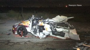 A 19-year-old man was killed and three others were injured after a possible street race in San Bernardino ended in a head-on collision on April 29, 2015. (Credit: Newspro News)