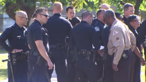Many officers responded to multiple shooting scenes in Palms on April 16, 2015. (Credit: KTLA)