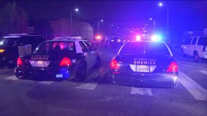 A street racing sting operation in South L.A. resulted in dozens of arrests on Monday, April 20, 2015. (Credit: KTLA)