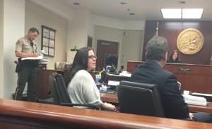 Summer Hansen cried as she appeared at a sentencing hearing in Riverside court on April 3, 2015. (Credit: Kareen Wynter / KTLA)