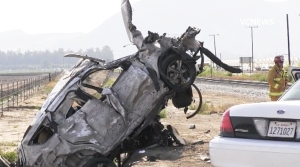 One person was killed when an SUV collided with a train in Camarillo on Thursday, April 23, 2015. (Credit: VCNEWS)