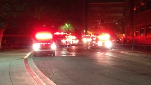 Firefighters responded to a blaze burning at a School of Dentistry building on the UCLA campus in Westwood early Tuesday, April 14, 2015. (Credit: KTLA)