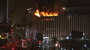 Firefighters were battling a structure fire at a six-story office building in the Westlake District on Tuesday, April 7, 2015. (Credit: KTLA)