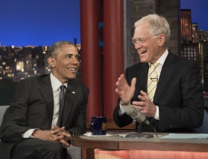 """President Barack Obama tapes an appearance on the """"Late Show with David Letterman"""" in New York on May 4, 2015. (Credit: NICHOLAS KAMM/AFP/Getty Images)"""