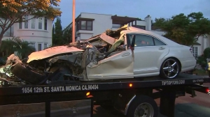 A passenger of a Mercedes-Benz was killed when the car crashed in Beverly Hills after a road rage incident on Friday, May 8, 2015, police said.(Credit: KTLA)