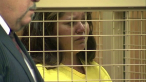 Michelle Betancourt began to tear up at the judge told her she would have to remain 100 yards from her sone and boyfriend during a court hearing on May 21, 2015. (Credit: KTLA)