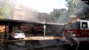 A blaze broke out at a Fullerton condominium on May 10, 2015. (Credit: OC Hawk)