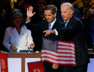 Then Senator Joe Biden, right, is seen with his son, then-Delaware Attorney General Beau Biden, during day three of the Democratic National Convention at the Pepsi Center on Aug. 27, 2008, in Denver, Colorado. (Credit: Mark Wilson/Getty Images)