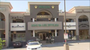 An investigation after a man stole a Rolex from Hang Wa Lee Jewelers in Walnut on May 3, 2015, and got away. (Credit: KTLA)