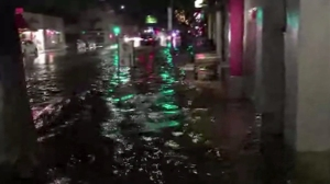 Video tweeted by @melroseaction showed flooding on Melrose Avenue in the Fairfax District amid a storm on May 14, 2015.