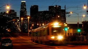 A Metro Gold Line train is shown east of downtown Los Angeles in 2014. (Credit: Luis Sinco / Los Angeles Times)