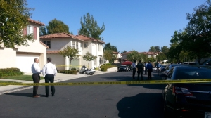 Authorities investigate a deputy-involved shooting in Rancho Santa Margarita on May 12, 2015. (Credit: Chip Yost / KTLA)
