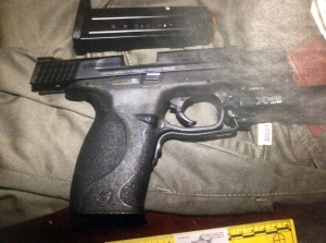 A photograph of the recovered firearm from the San Bernardino Police Department.