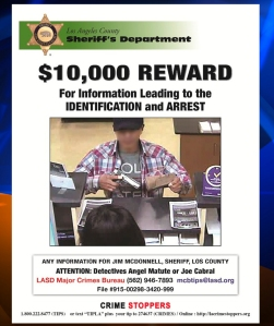 "The Los Angeles County Sheriff's Department released this flyer with a photo of the ""Band Aid Bandit."""