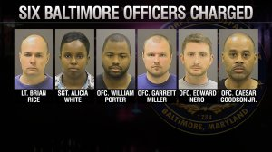 Six Baltimore, Maryland, police officers, were charged May 1, 2015, in the death of Freddie Gray. Left to right: Lt. Brian Rice, Sgt. Alicia White, Ofc. William Porter, Ofc. Garrett Miller, Ofc. Edward Nero and Ofc. Caesar Goodson Jr.  (Photos via CNN)