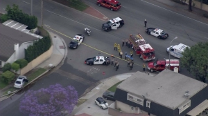 Authorities responded to an apparent deputy-involved shooting Cerritos on May 7, 2015. (Credit: KTLA)