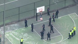 A shirtless man had to be rescued after he somehow managed to get stuck upside down on a basketball hoop at Cal Anderson Park in Seattle on May 1, 2015. (Credit: KOMO via CNN)